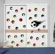 Amazon Com Bibitime Sport Fans Speed Soccer Ball Wall Decal World Cup Theme Country Flag Balls Us Brazil Russia Vinyl Decals For Nursery Bedroom Laptop Cover Car Window Stickers Diy Sports Outdoors