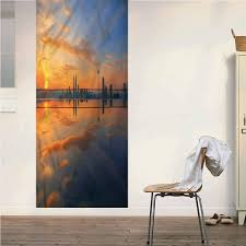 Amazon Com Poppy Ramsden Landscape One Piece Door Mural Wall Sticker Sunrise Cityscape Peel And Stick Removable Wallpaper Wall Decal For Door Wall Fridge Home Decor 32x80 Inch Home Kitchen