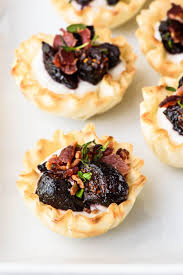 fig goat cheese bacon phyllo bites