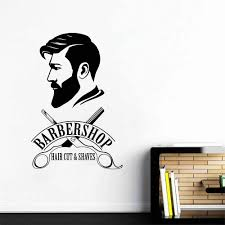 Amazon Com Melissalove Barbershop Logo Wall Decal Mural Barber Shop Sign Sticker Window Decor Decals Barber S Logo Murals Hair Salon Wallpapers Lc477 Black Home Kitchen