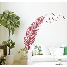 Decal Feather With Birds Wall Decal Red 20 X 40 Walmart Com Walmart Com