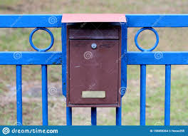 Locked Old Dilapidated Metal Mailbox Mounted On Strong Blue Iron Fence In Family House Driveway Stock Photo Image Of Family Iron 156855264