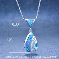 pendants necklaces white blue fire opal