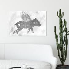 Shop Oliver Gal Flying Pig Animals Wall Art Canvas Print Farm Animals Gray White Overstock 32195289