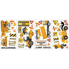 Roommates 5 In X 11 5 In Construction Trucks Peel And Stick Wall Decals Rmk2330scs The Home Depot