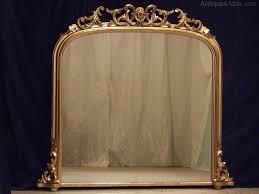 large antique gilt overmantle mirror
