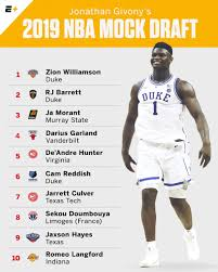 2020 Nba Mock Draft Espn - espn 2020