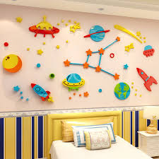 China Cartoon Solar System Astronaut Wall Sticker Kindergarten Decorative Wall Sticker Kids Room Decoration Photos Pictures Made In China Com