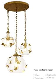 Luxury Glass Globes Pendant Light Modern Hanging Lamp With Gold Butterfly Decor Chandelier For Bedroom Kids Room Dining Room Single Head Ceiling Lighting Fixture E26 Max60w J Amazon Com