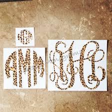 Cheetah Monogram Decal Various Sizes Leopard Print Etsy Vinyl Monogram Monogram Decal Car Monogram Decal