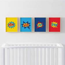 Zoomie Kids Winsett Super Heroes Pow Splat Zap Bam 4 Piece Set Paper Print Wayfair