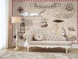 Nautical Maps With Old Sailboat Wallpaper Mural Wallmur