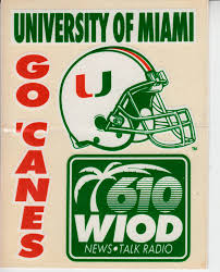 Miami Hurricanes Football 1980s Wiod Car Decal Or Sticker