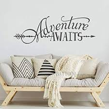 Amazon Com Battoo Adventure Awaits Wall Decal Quote Vinyl Lettering With Arrow Adventure Quote Travel Wall Decal Sticker 22 W 7 5 H Tribal Theme Room Decor Dark Gray Arts Crafts Sewing