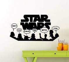 Amazon Com Star Wars Wall Vinyl Decal May The Force Be With You Darth Vader Jedi Master Yoda Admiral Ackbar Chewbacca C 3po Quote Vinyl Sticker Home Teen Kids Room Nursery Art Decor Vinyl