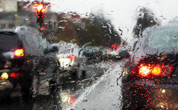 Traffic and rain stock image. Image of crush, city, dangerous ...