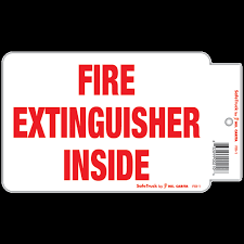 Fire Extinguisher Inside Truck Safety Decal