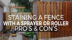Difference In Staining A Fence By Spraying And Rolling Youtube