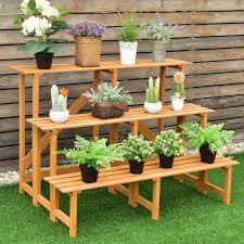3 Tiers Wooden Corner Plant Ladder Pot Holder Rack Wood Plant Stand Plant Stands Outdoor Plant Stand
