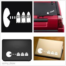 2pcs White Pacman Funny Cute Car Wall Vinyl Bumper For Ipad Apple Laptop Sticker Cars Decal Window Tablet Xmas Gift Home Decor Stickers Wish
