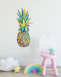 Colorful Pineapple Wall Decal Removable Fabric Vinyl Wall Etsy