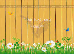 Fence With Grass Vector Clipart
