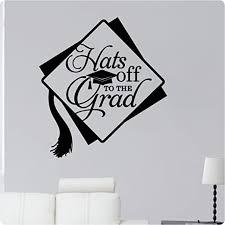 Amazon Com 24 Graduation Hats Off To The Grad College High School Cap Tassel Wall Decal Sticker Art Home Decor Home Kitchen
