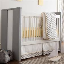 yellow zig zag 3 piece crib bedding set