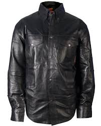 hot leathers men s leather shirt black