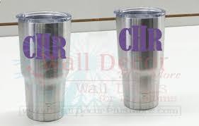 Monogram Vinyl Sticker Decals For Yeti Or Rtic Tumbler Mugs Set Of 2 2x3inch