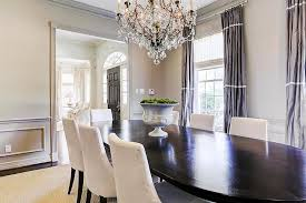 Gray Dining Room With Purple Curtains Transitional Dining Room