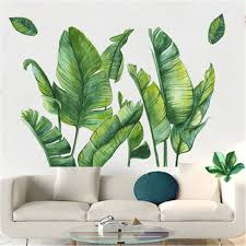 Nordic Green Plant Wall Stickers Home Decor Living Room Tropical Rainforest Palm Leaves Decal Wall Mural Children Room Wallpaper Wall Stickers Aliexpress