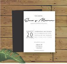 Tarjetas De Casamiento Minimalista Invitaciones 90 00 En