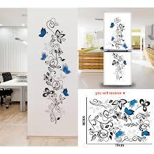 Flower Vine Butterflies Wall Stickers Living Room Decor Home Decals Mural Art Pvc Print Posters Muraux Sticker On The Fridge Belenydogen