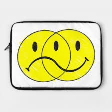 happy sad face smiley laptop case