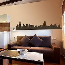 Amazon Com Vinyl Chicago Wall Decal Chicago City Wall Decor Chicago Skyline Wall Sticker Wall Mural Wall Graphic Living Room Wall Decor Dark Brown Home Kitchen