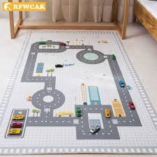 New 80x130cm Kids Car City Scene Taffic Highway Map Play Mat Carpet Rugs Floor Mat Area Rug For Living Room Baby Room Decoration Aliexpress