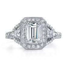14k white gold three stone diamond eng