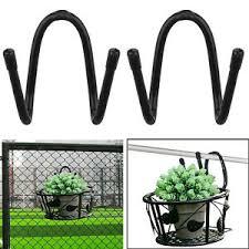 2x Flexible Art Hanging Baskets Flower Pot Holder For Patio Balcony Porch Fence Ebay