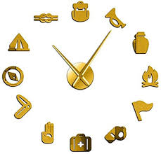 Amazon Com Yaoyao Wall Clock For Kids Room Camping Scouting Diy Giant Wall Clock Junior Kids Scout Campfire Exclusive Wall Clock Big Time Clock Big Needles Mirror Effect Gold Home Kitchen