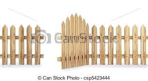 Wooden Fence With A Gate Isolated On White Including Clipping Path