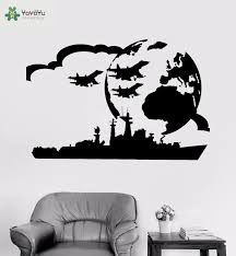 Yoyoyu Vinyl Wall Decal Aircraft Carrier Military Battle Aircraft War City Kids Boy Room Home Decoration Stickers Fd526 Home Decor Stickers Decorative Stickersvinyl Wall Decals Aliexpress