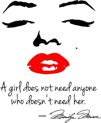 Marilyn Monroe Red Lips Wall Decal A Girl Does Not Need Anyone Etsy