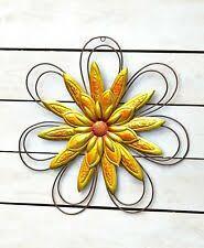 Garden Flower Wall Or Fence Art Garden Porch Patio Outdoor Decor Yellow For Sale Online