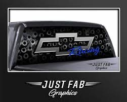 Chevy Bow Tie Rivets Blue Silver Rear Window Perf Graphic Decal Tint Truck Suv Ebay