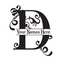 Large Vinyl Monogram Letter D Decal Split Letter Monogram Etsy