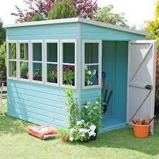 sun pent wooden garden potting shed