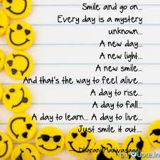 smile and go on every quotes writings by dharani
