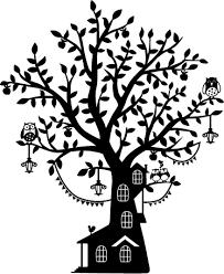 Kids Tree House Monochrome Wall Sticker Tenstickers