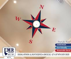Large Nautical Compass Wall Decal Ceiling Peel And Stick Wall Decal Navy Red Dark Blue Nursery Playroom D572 Wall S Tale Wall Decals Turkey